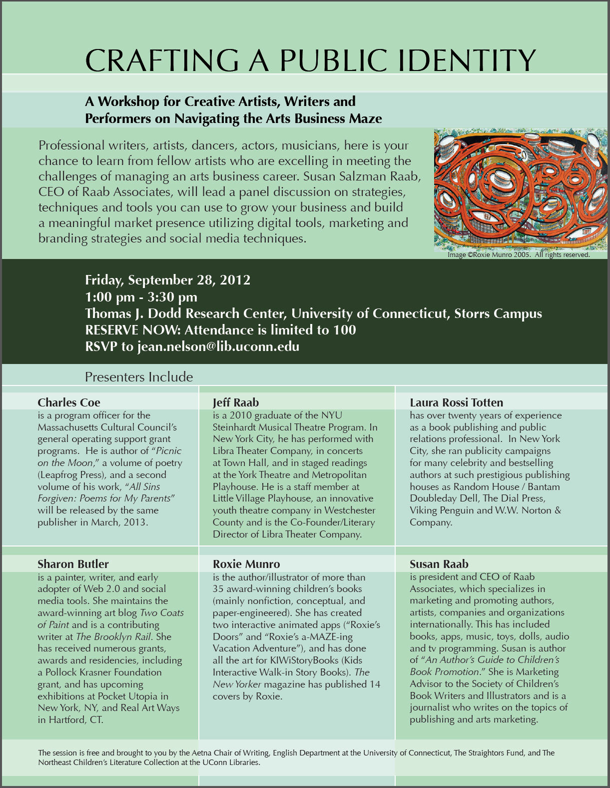 """""""Crafting a Public Identity"""" Workshop 9/28/2012 Dodd Research Center, Storrs, CT"""