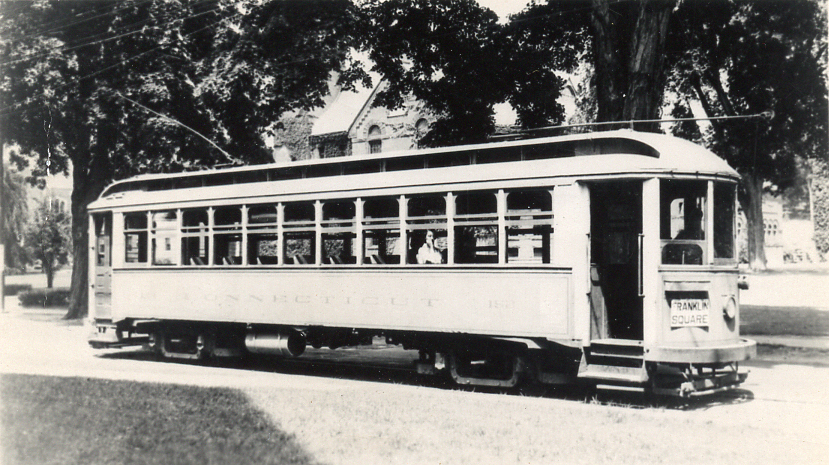 Connecticut Company car 152 on Washington Street in Norwich, 1931 (2012-0077_ph2)