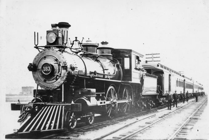 The New England Limited, better known as the White Train, or Ghost Train, which traveled from New York to Boston on the Air Line Division (formerly the Boston & New York Air Line Railroad) of the New York, New Haven & Hartford Railroad in the early 1890s.  Leroy Roberts Railroad Collection, Archives & Special Collections, University of Connecticut Libraries.