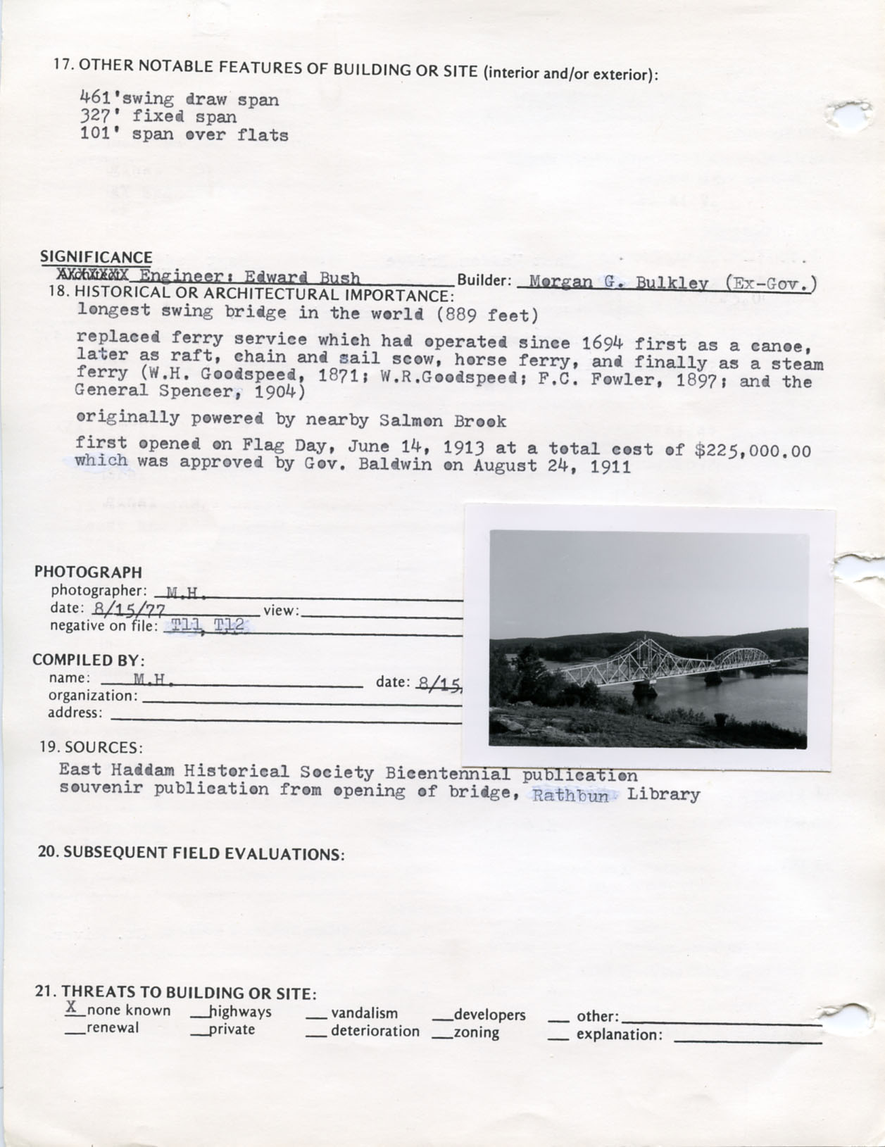 Architectural survey of East Haddam Bridge in East Hampton, Connecticut, 1977