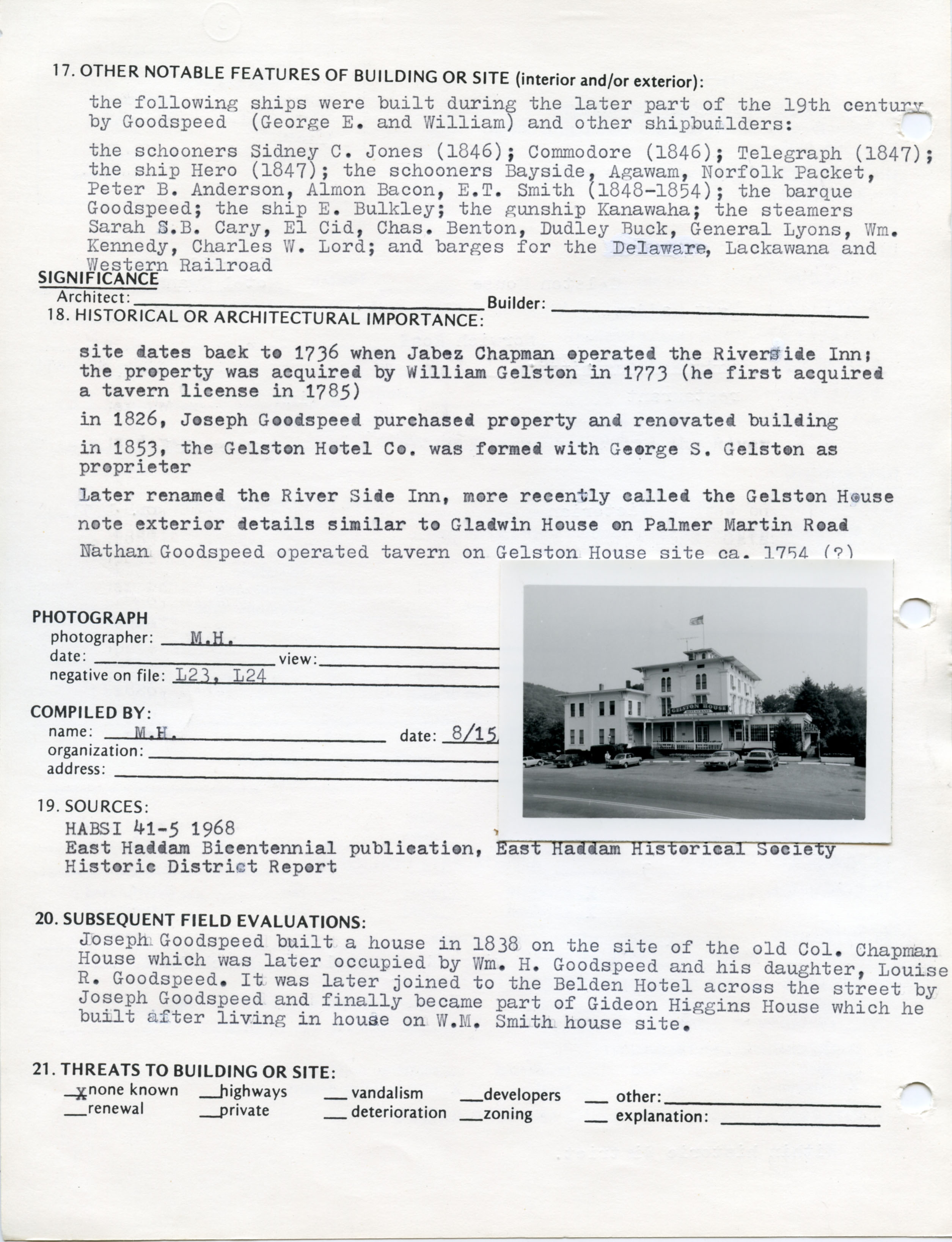 Architectural survey of Gelston House in East Hampton, Connecticut, 1977