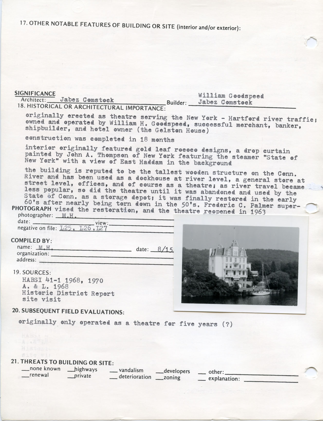 Architectural survey of Goodspeed Opera House in East Hampton, Connecticut, 1977