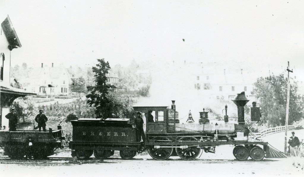 "The ""Hookset,"" built in 1842 at the Hinkley & Drury Shops for the Concord Railroad.  Was Locomotive #1 of the Boston, Hartford & Erie Railroad in 1863, then the New York & New England Railroad's Locomotive #1 in 1871.  From the Frances D. Donovan Papers, Archives & Special Collections, University of Connecticut Libraries."
