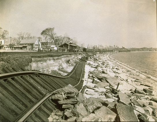 Tracks washed off their bed in Niantic, Connecticut, following the Hurricane of 1938