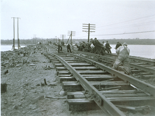 Repairing rail line in Stonington, Connecticut, after the Hurricane of 1938