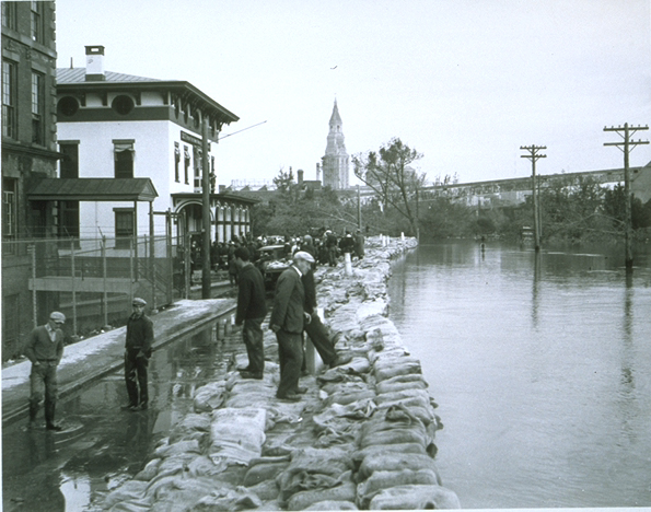 Sandbagging in New Haven, Connecticut, following the flooding caused by the Hurricane of 1938