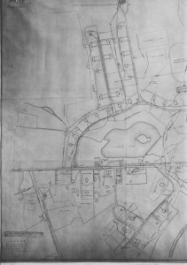 Portion of the plan of water and sewer pipes , 1932