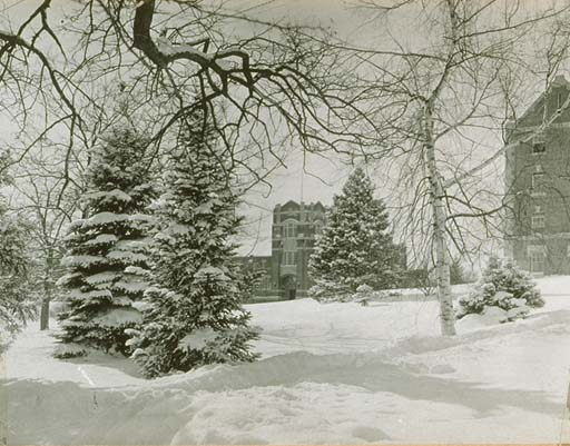 Hawley Armory in the snow, 1915