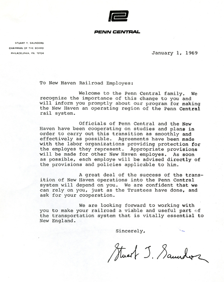 Letter written January 1, 1969, to Penn Central employees who previously worked for the New Haven Railroad
