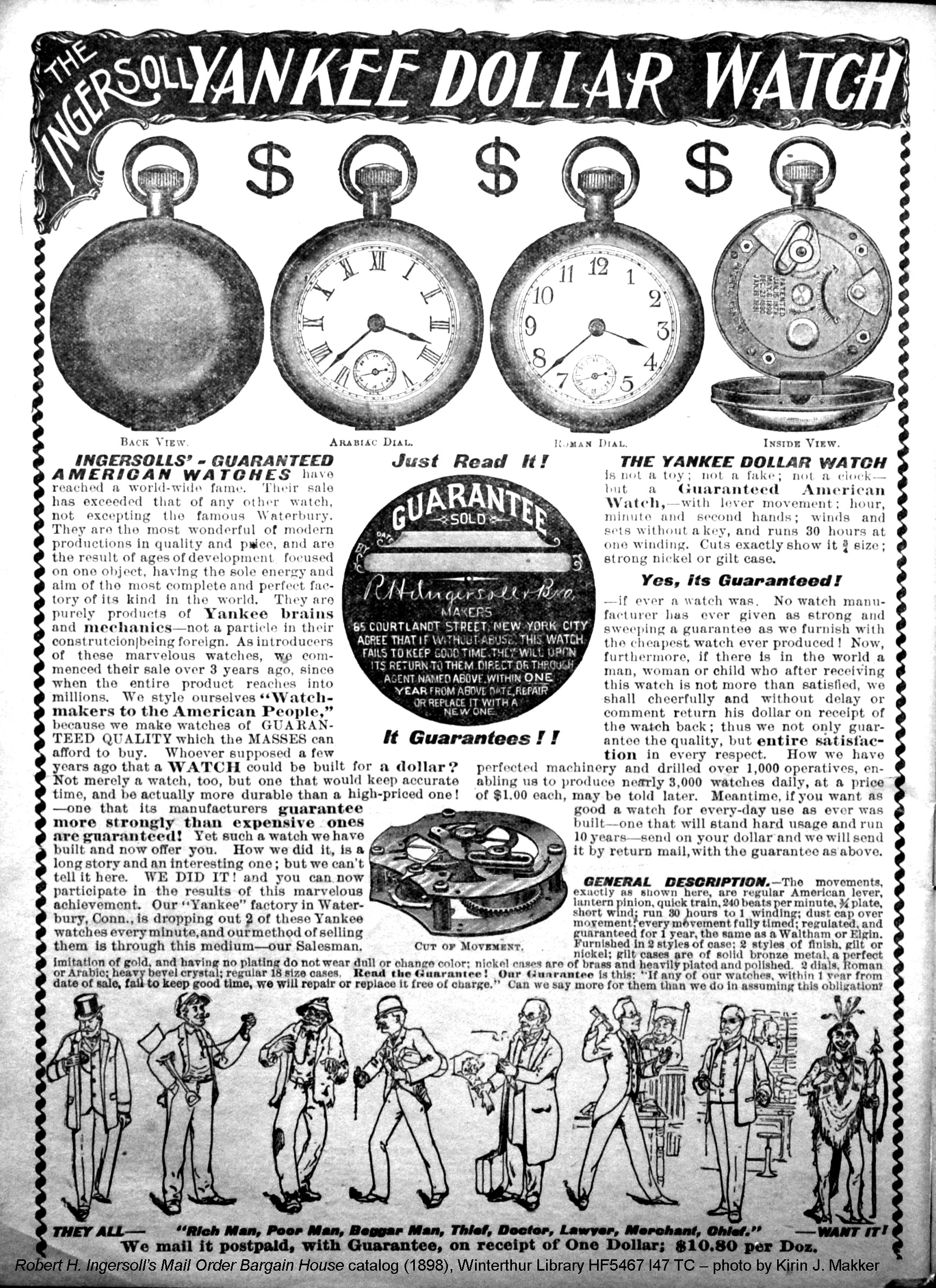 Full page ad for the Ingersoll Yankee Dollar Watch, from the Mail Order Bargain House catalog (1898)