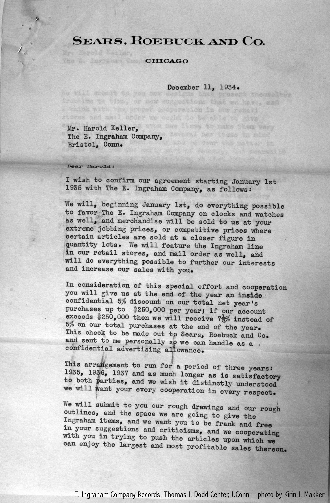 Letter to Harold Keller of E. Ingraham Company from the Sears, Roebuck and Company, December 11, 1934