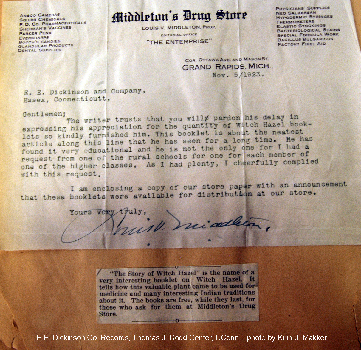 Letter to E. E. Dickinson Company from Middleton's Drug Store in Grand Rapids, Michigan, November 5, 1923