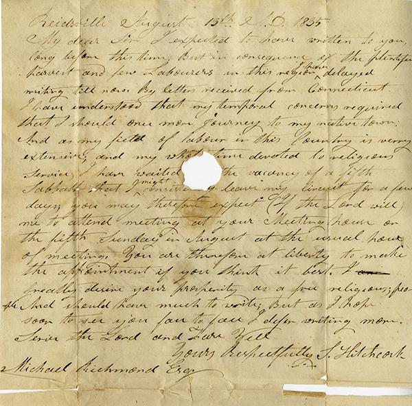 Letter from S. Hitchcock of Reidsville [possibly North Carolina] to Michael Richmond of Windham County, Connecticut, August 13, 1835