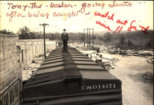 Photograph for documentation of an accident involving the conductor of the train and wiring above the cars, taken on April 18, 1947