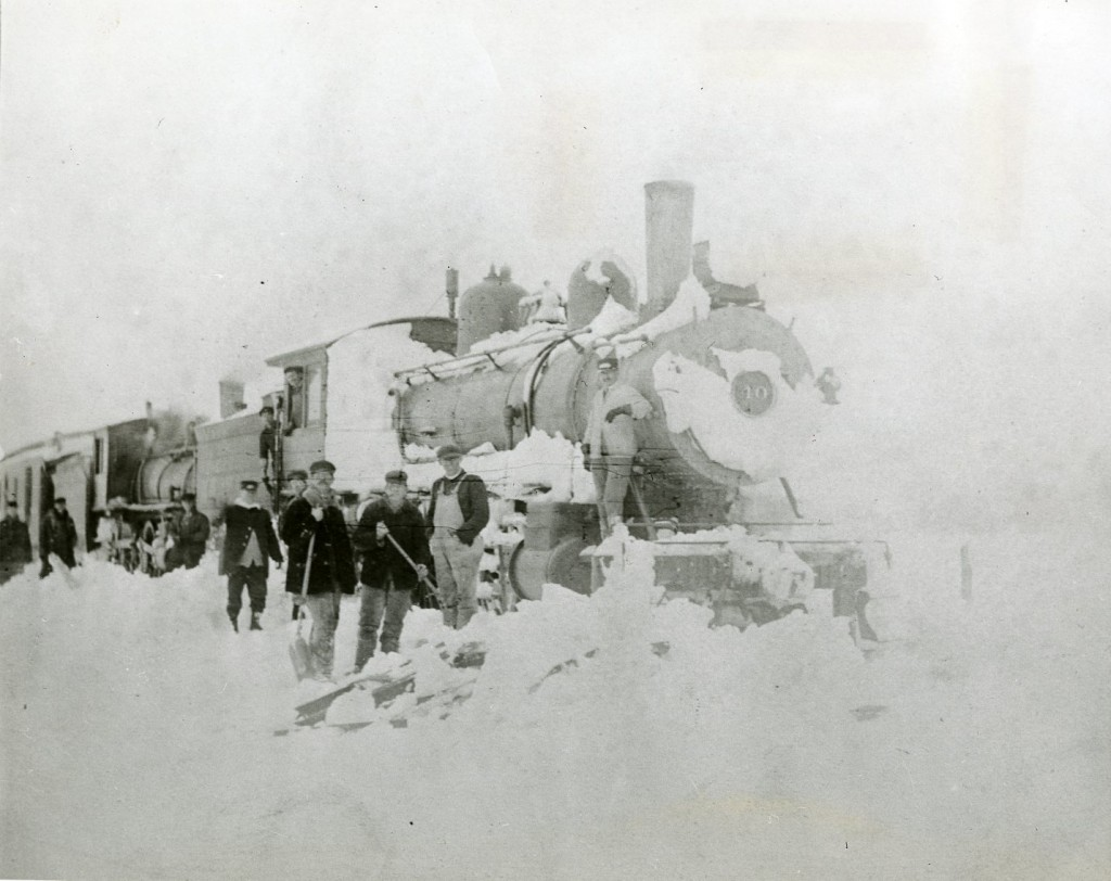 Central New England Railway engine stuck in the snow near Pine Plains, New York, March 2, 1914
