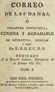Page of Correo de las Damas (title page)