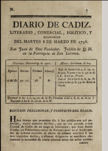 Diario de Cádiz (title page). First issue, 1796