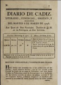 Diario de Cádiz (title page). First issue, 1796