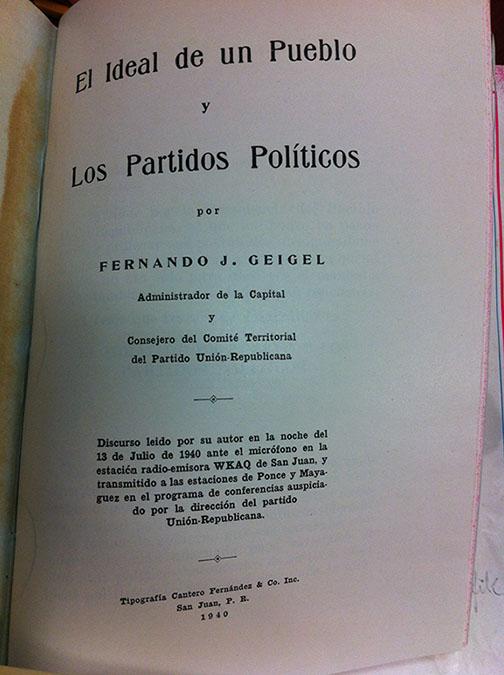 El Ideal de un Pueblo y Los Partidos Políticos by Fernando Géigel y Sabat