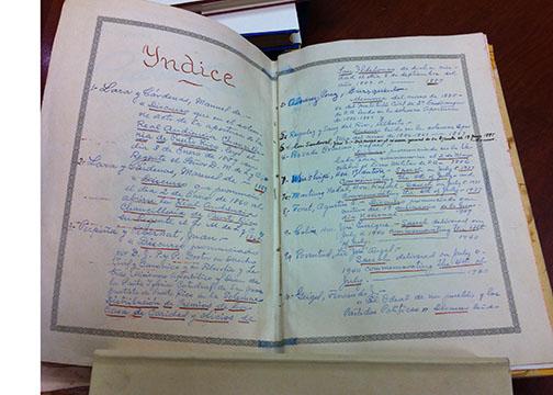 Índice e inventario creado por Luisa Géigel de los títulos y la ubicación de todos los libros de la colección Géigel en su casa en San Juan, PR
