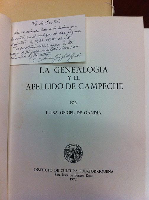 La Genealogía y el Apellido de Campeche by Luisa Géigel