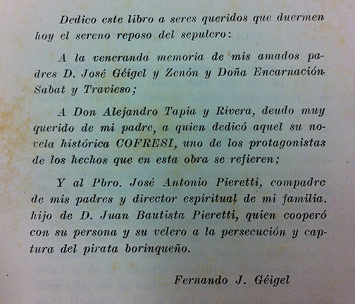 Dedication from Fernando Géigel for his parents, Alejandro Tapia y Rivera and José Antonio Pieretti in his book, Corsarios y Piratas de Puerto Rico