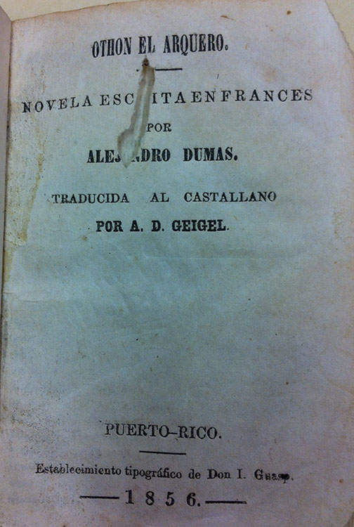 Translation by A.D. Géigel. Othon el Arquero by Alexander Dumas