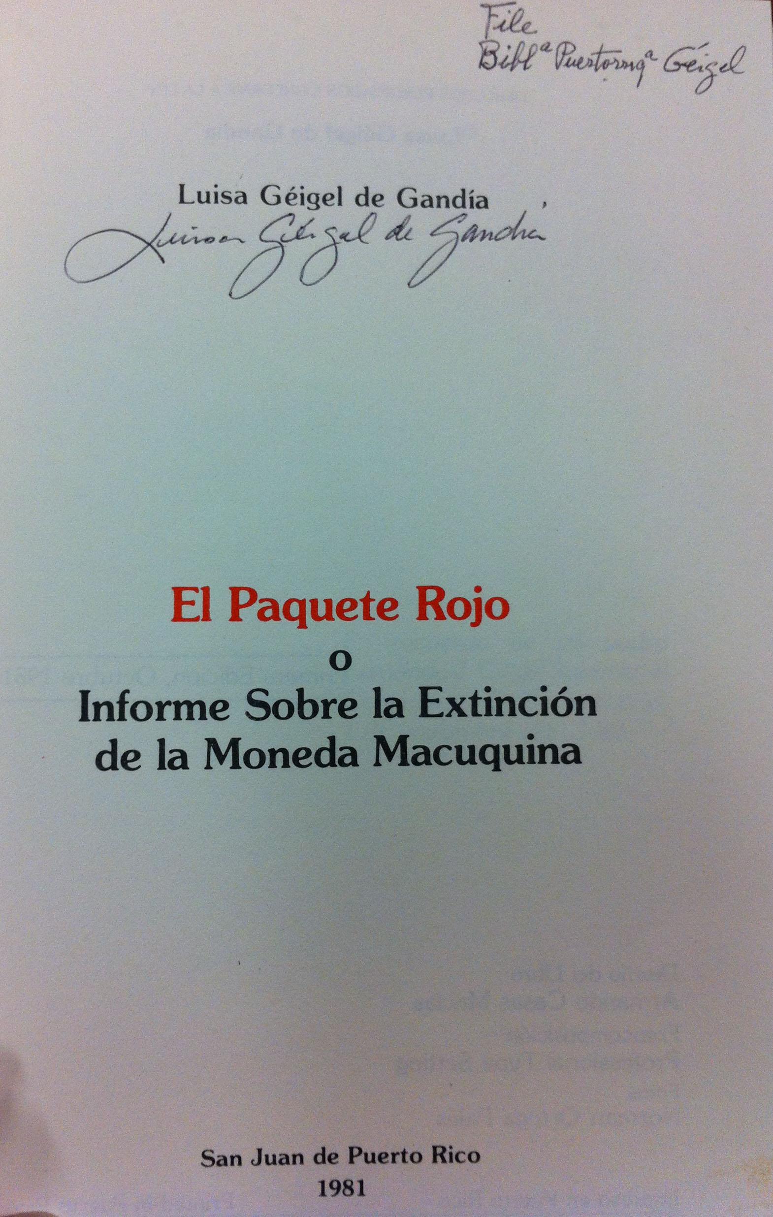 Luisa Géigel book, El Paquete Rojo