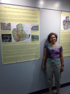 Professor Ruth Glasser and her exhibit Brass City/Grass Roots, on display at the Thomas J. Dodd Research Center in June and July, 2015