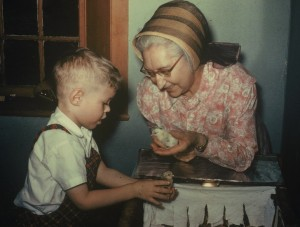 Photograph of Darryl Thompson as a small child, with Eldress Bertha Lindsay of the Canterbury, New Hampshire Shakers