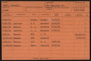 Cheney Brothers Silk Manufacturing Company employment card