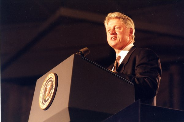 Bill Clinton at the dedication of the Thomas J. Dodd Research Center, October 15, 1995