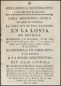 image of front cover of Book written by the architect Lucas Cintora defending his work at the Lonja de Sevilla which will housed the new Archivo General de Sevilla.