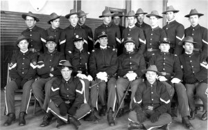 Members of the CAC Cadet Battalion, 1905. The officer in the second row, fourth from left is Lieutenant E. R. Bennett, Commandant of Cadets