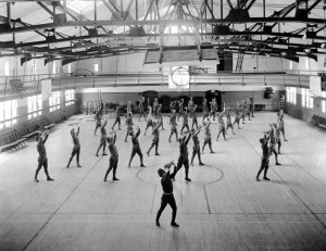 Calisthenics in Hawley Armory, 1920