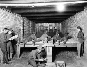 Rifle range, Hawley Armory basement, circa 1920