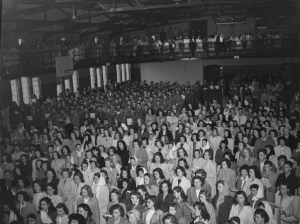 V-E Day observances in Hawley Armory, May 8th, 1945.