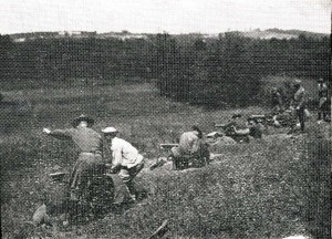 Cadets on the machine gun range at Camp Devens, summer 1925