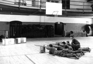 Cadets undergo marksmanship instruction inside Hawley Armory, 1920