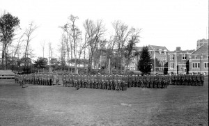 CAC Cadet Battalion, 1924, with Koons Hall and Hawley Armory in the background