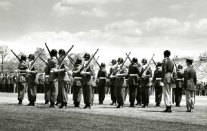 Company F-12, UConn Pershing Rifles performs during a Military Day ceremony sometime in the 1950s.