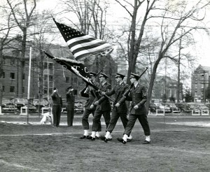 An Air Force ROTC Color Guard passes in review on Gardner Dow Field in 1952.