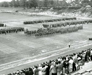 UConn Army and Air Force ROTC units assembled at Memorial Stadium for Military Day observances, 1955.