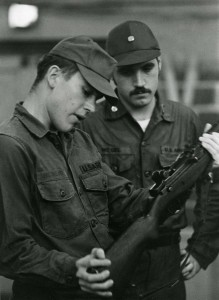 Cadet weapons have come a long way since the days of black powder muskets and bolt-action rifles. In this undated photo, two UConn Cadets examine an M14 Automatic Rifle, the standard issue infantry rifle for U.S. military personnel from 1959-1970.