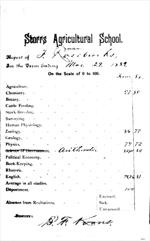 Fred Rosebrooks's report card, Spring 1889. (Ethel Larkin Papers, Mansfield Historical Society)