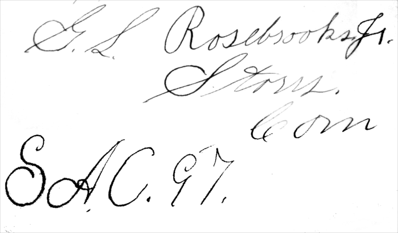 George L. Rosebrooks's signature, accompanied by the annotations 'Storrs, Conn' and 'SAC. 97', in Elements of Chemistry.