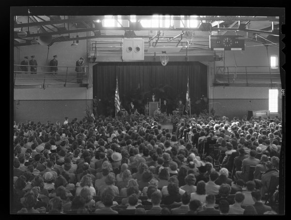 Eleanor Roosevelt delivering her speech at Hawley Armory