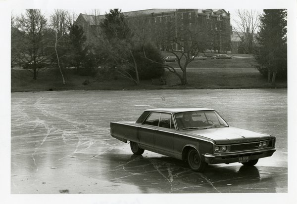 Car on frozen Duck Pond, 1972