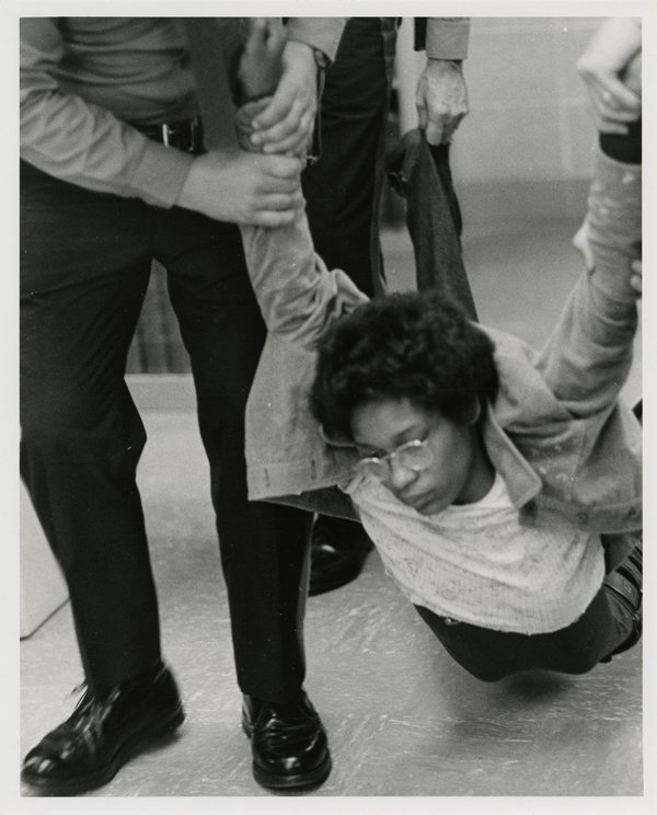 Black Student Dragged Out of Wilbur Cross Library, April 23, 1974.
