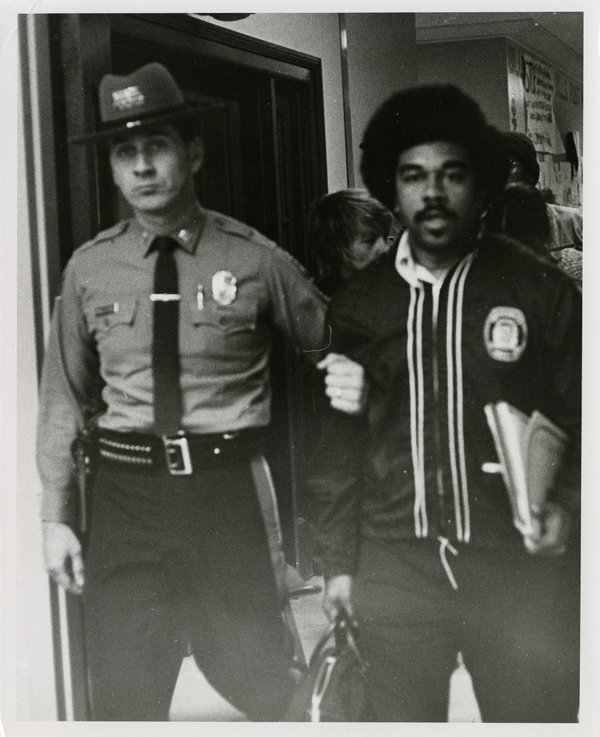 Black Student Removed From Wilbur Cross Library, April 23, 1974.